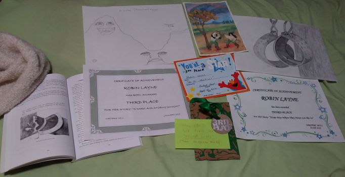examples of 3rd place writings, their illustrations, and prizes